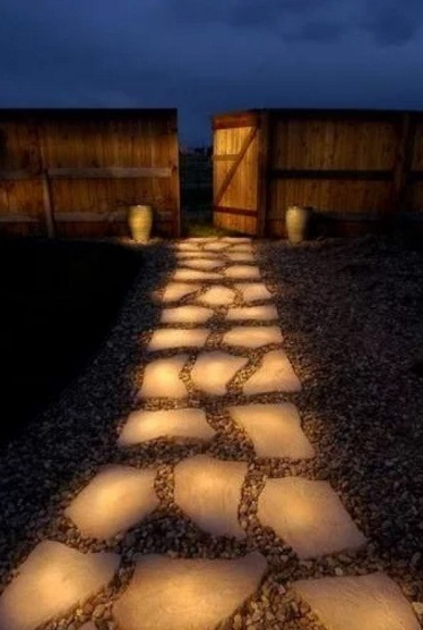 Garden path made of glowing stones