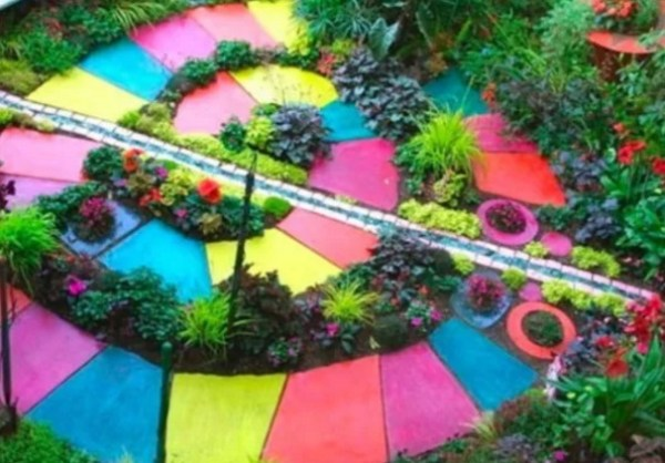 Garden path made of painted slabs