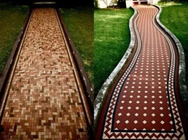 Garden path made with small floor tiles