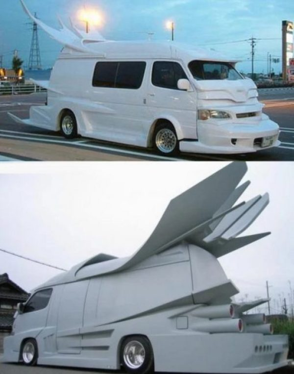 White Modified Japanese Van