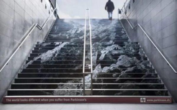 Mountain artwork on stairs