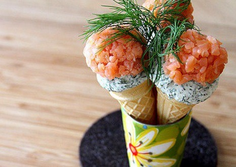 Smoked Salmon and Dill Mini-Ice Cream Cones