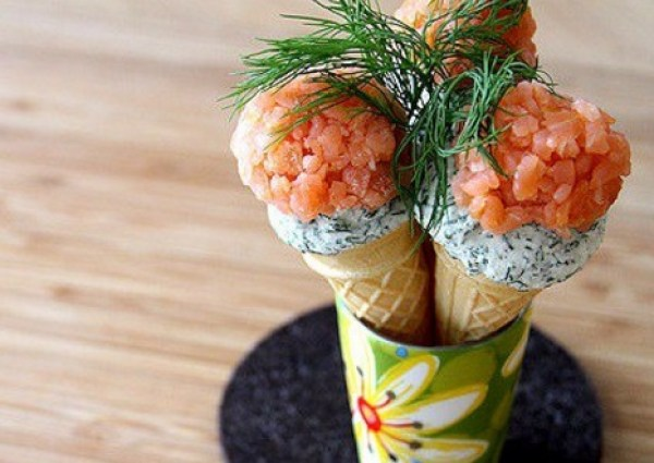 Smoked Salmon and Dill Mini-Ice Cream Cones