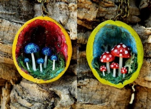 Mushroom gifts made with walnut shells