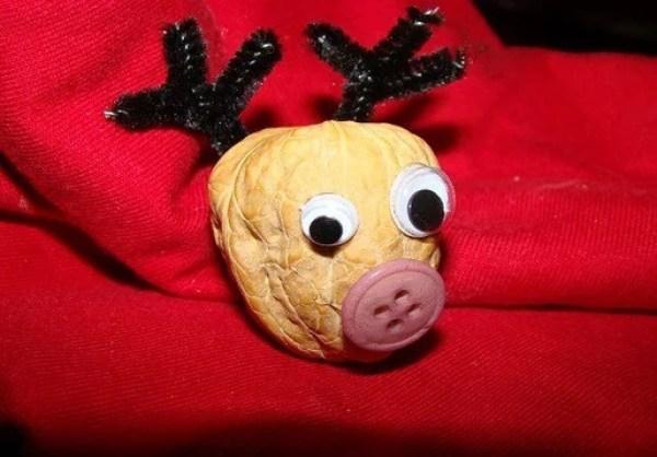 Reindeer fridge magnet made with walnut shells