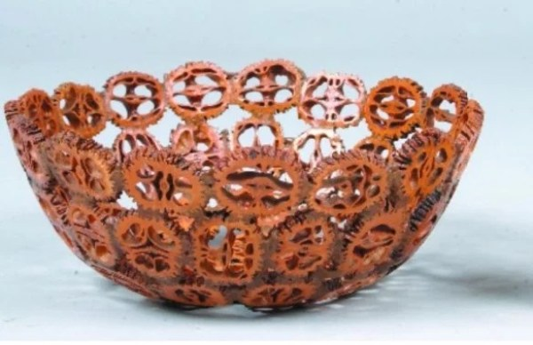 Nut bowl made with walnut shells