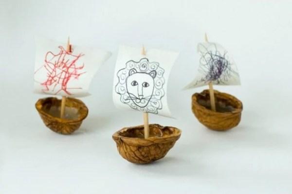 Boats made with walnut shells