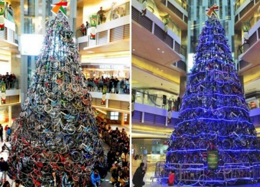 Various Artist Christmas Tree Made From Bicycles