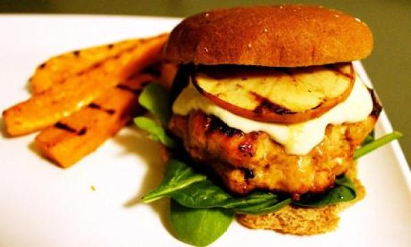 Pork Burgers with Grilled Apple and Cheddar