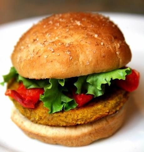 Sweet Potato, Chickpea, and Quinoa Veggie Burger With Roasted Peppers