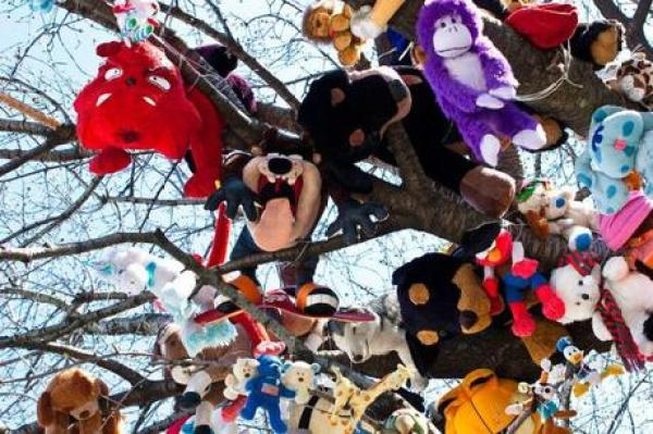 Tree covered in toys