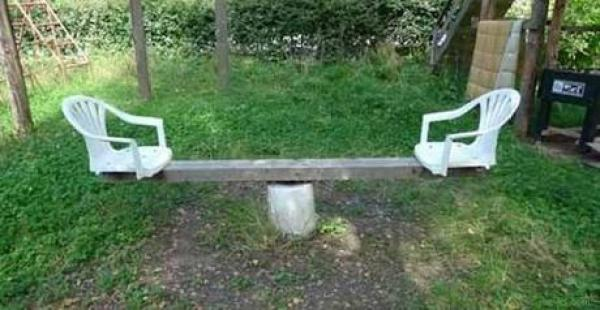 Seesaw Made From Garden Items