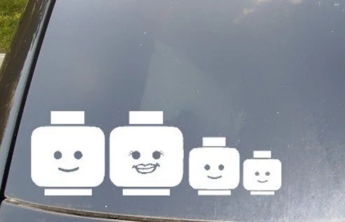 Lego Head Family Car Decal Sticker