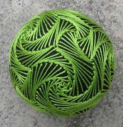 Green and Black Temari Ball