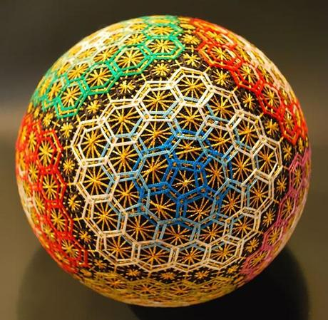 Multi-Colored Hexagon Effect Temari Ball
