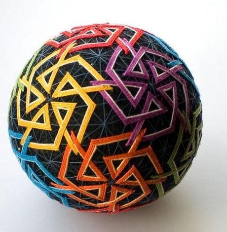 Multi-coloured Geometric Temari Ball