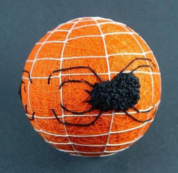 Orange and Black Halloween Temari Ball