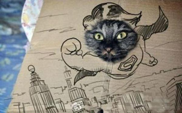Cat art in the style of a Superman