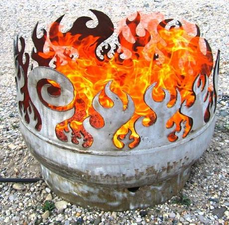 liquid drums turned into a Portable Fire Pit