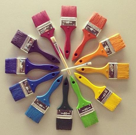 Recycled Paint Brushes Turned Into clock