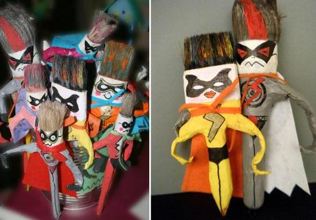 Recycled Paint Brushes Turned Into Super Heroes