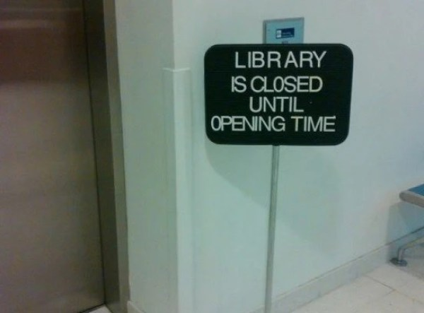 Pointless Library Sign