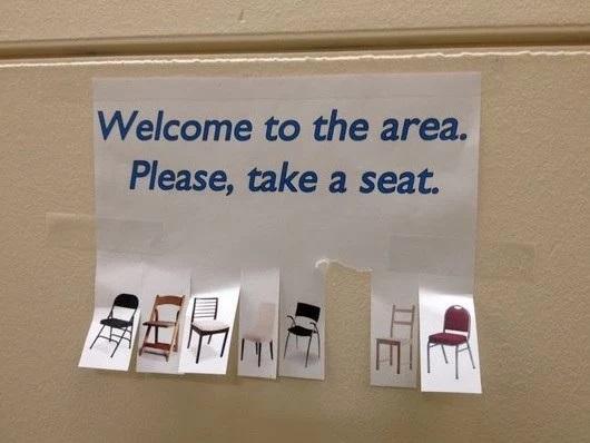 """""""Take a seat"""" street flyer"""