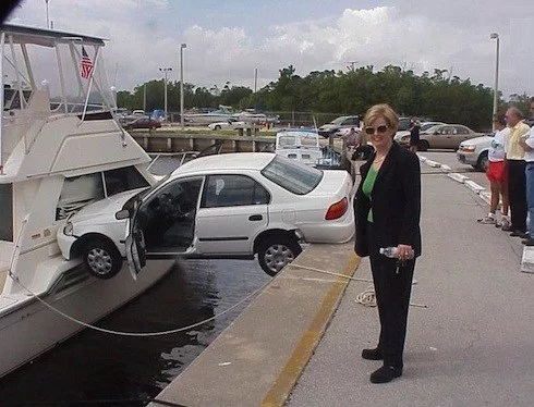Car crash on a boat