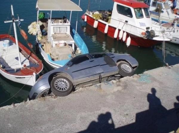 Car crash into Shipping bay