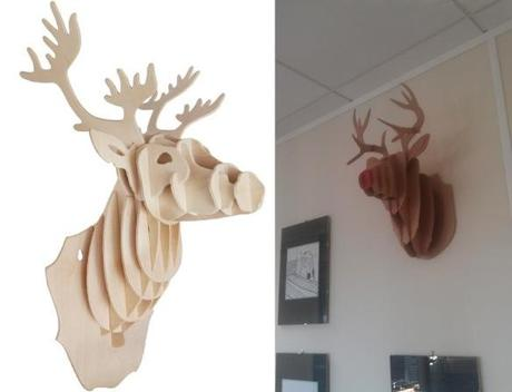 Wall Mounted Wooden Stag