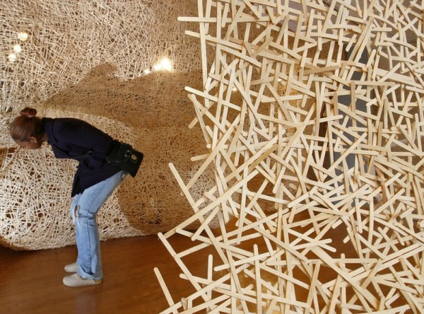 Top 10 Art installations Made From Wooden Coffee Stirs
