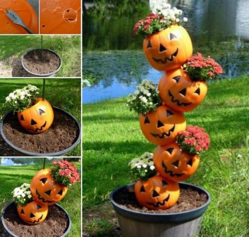 Stacked Pumpkin Planter