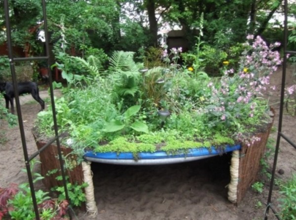 Trampoline Turned Into a Planter