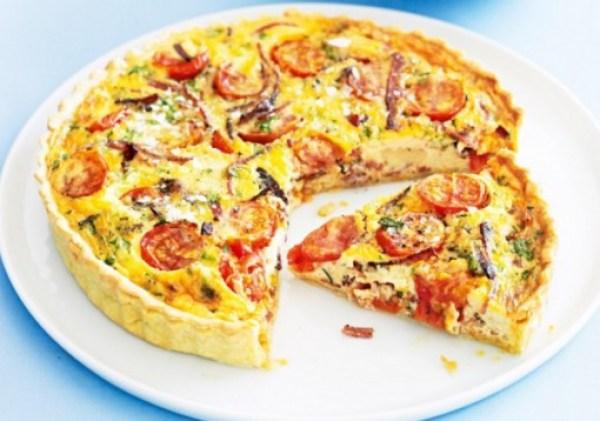 Salami And Tomato Quiche