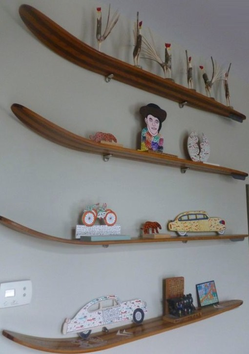 Snow Skis Transformed Into Shelves