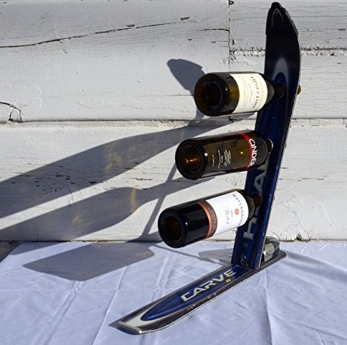 Snow Ski Transformed Into A Wine Bottle Holder