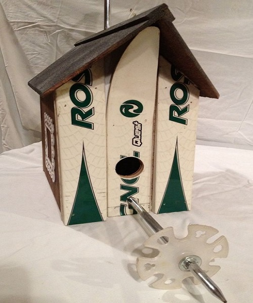 Snow Skis Transformed Into A Bird House