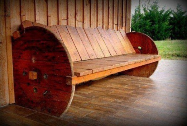 Wooden Cable Reel Used To Make a Bench