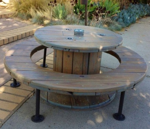 Wooden Cable Reel Used To Make a Picnic Table