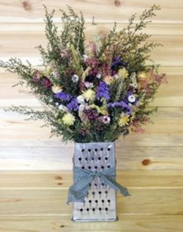 Cheese Grater Transformed Into a Flower Vase