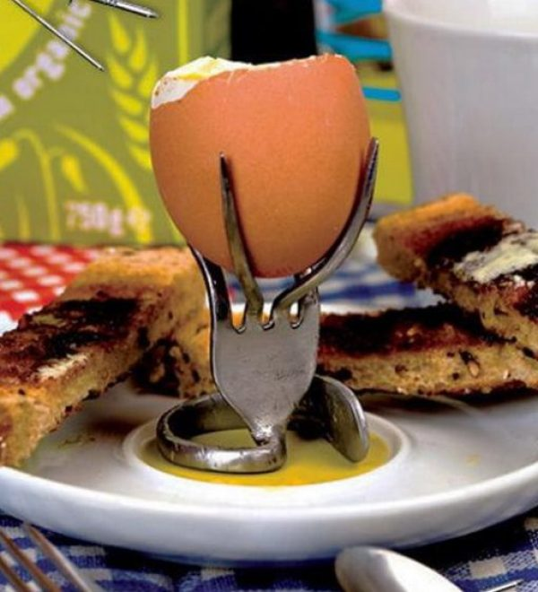 Fork Transformed Into a Egg Cup Holder