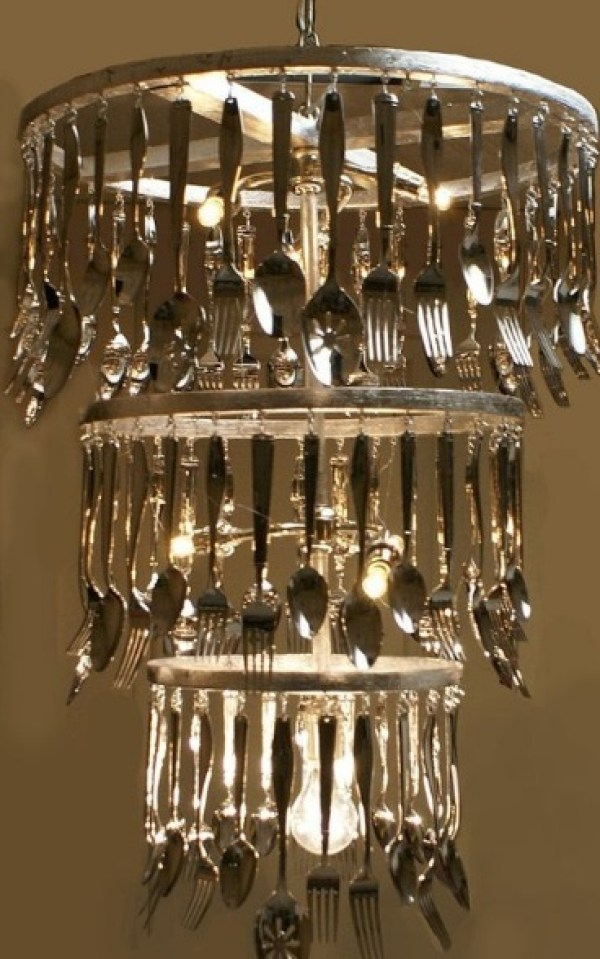 Cutlery Transformed Into a Chandelier