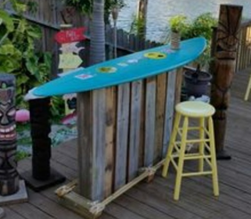 Surfboard Used To Make An Outdoor Bar