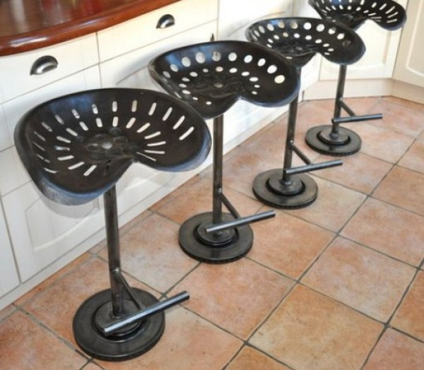 Tractor Seat Transformed Into a Bar Stool