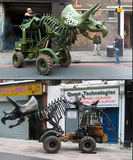 Tractor Transformed Into a Dinosaur