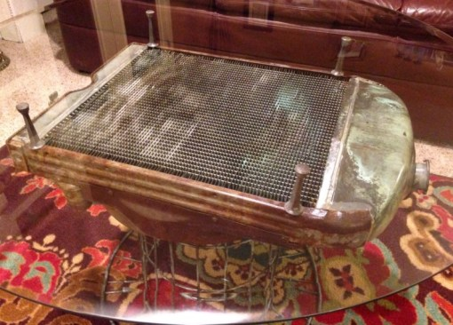 Tractor Radiator Transformed Into a Coffee Table