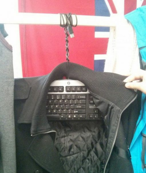 Computer Keyboard Transformed Into a Clothes Hanger