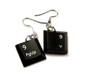 Computer Keyboard Keys Transformed Into Earrings