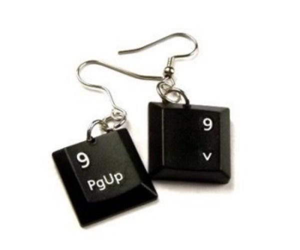 Computer Keyboard Keys Transformed Into Earrings