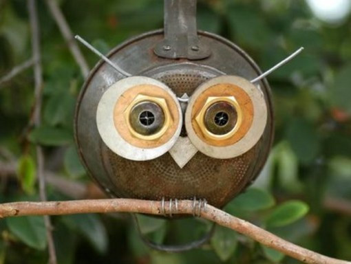Frying Pan / Skillet Transformed Into Craft Owl